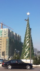 This year's Christmas tree in Martyr's Square, downtown Beirut.