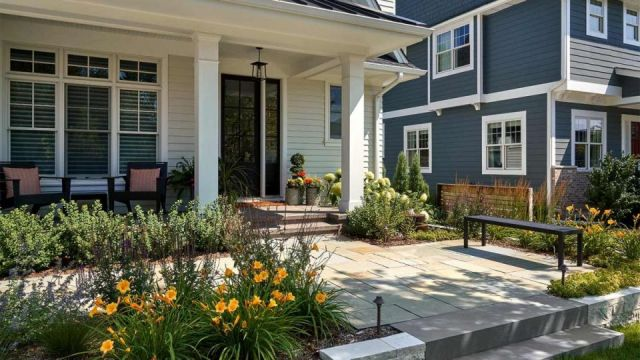 Adorable farmhouse front yard landscaping ideas