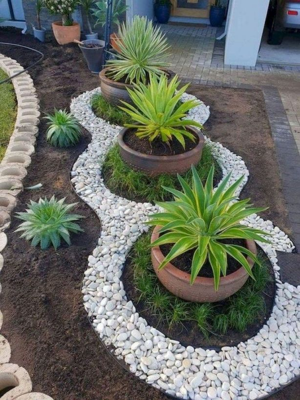 Cool flower bed ideas with rocks