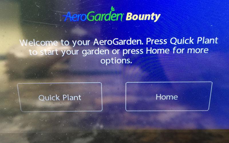 AeroGarden quick plant LED display