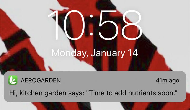 Aerogarden phone alert