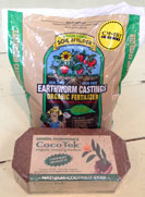 Coco-Tek growing medium and earthworm castings