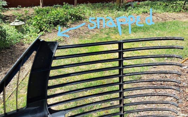 Corona BigLOAD leaf rake does not snap in cold