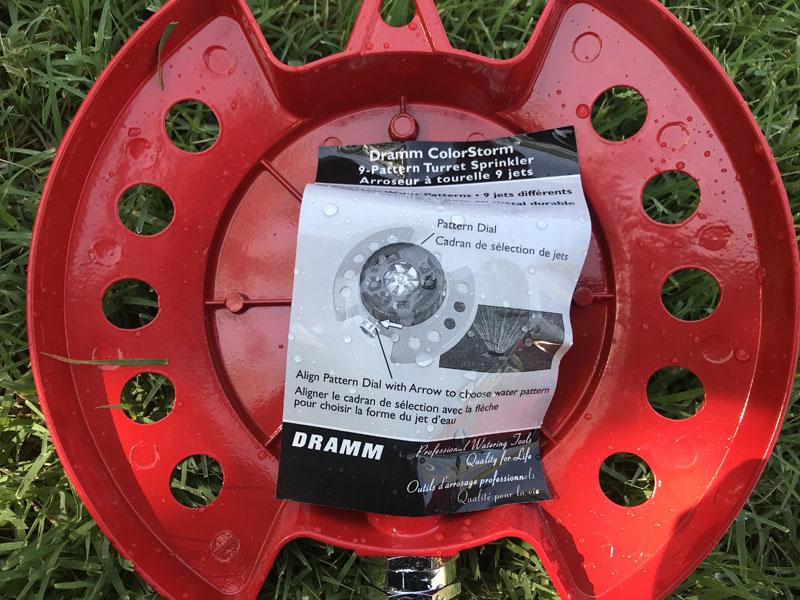 Dramm ColorStorm 9-Pattern Turret Sprinkler sticker on back