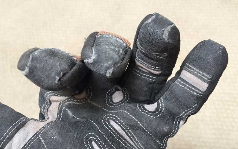 rolled fingertips on Duluth trading work gloves