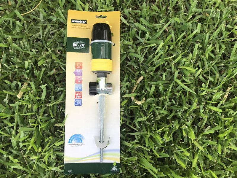 Melnor turbo rotary sprinkler in packaging