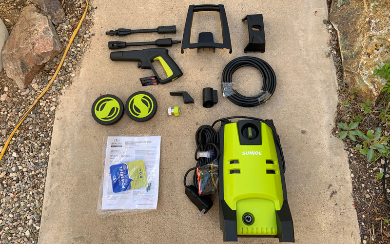 Sun-Joe-SPX1501-Pressure-Washer-parts-layed-out