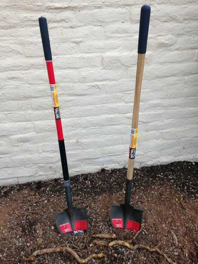 fiberglass and wood Earth Talon shovels