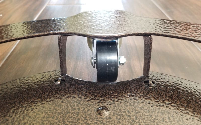 bottom, wheel and rim of a heavy duty plant caddy made by Cascade Manufacturing
