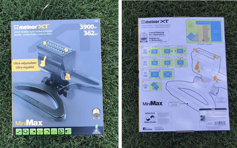 Melnor Minimax turbo oscillating sprinkler packaging