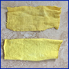 Two strips of cloth dyed yellow