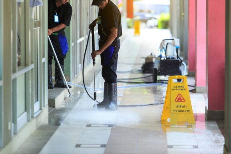 cleaning the ground floor