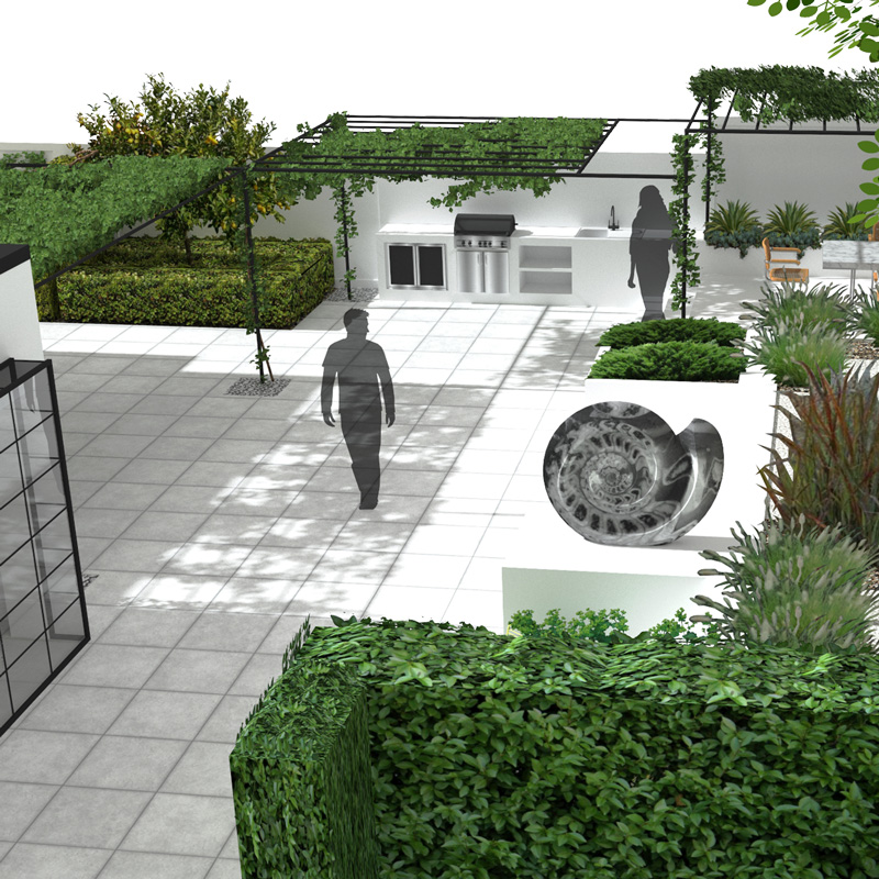 3D architectural photorealistic rendering showing modernist garden backyard, with hedges, trees, pergola, hardscape, a sculpture of Ammonite, BBQ area, and silhouettes of people.
