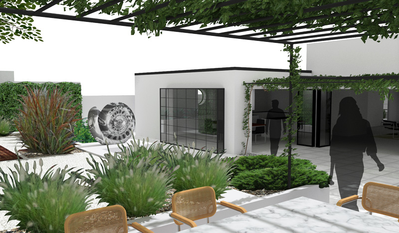 3D architectural photorealistic rendering showing modernist garden backyard from underneath the pergola covered in vines with a view of the entertainment area with marble table and Cesca chairs towards Bauhaus style villa with large industrial window. Shows also grasses and a large sculpture of ammonite.