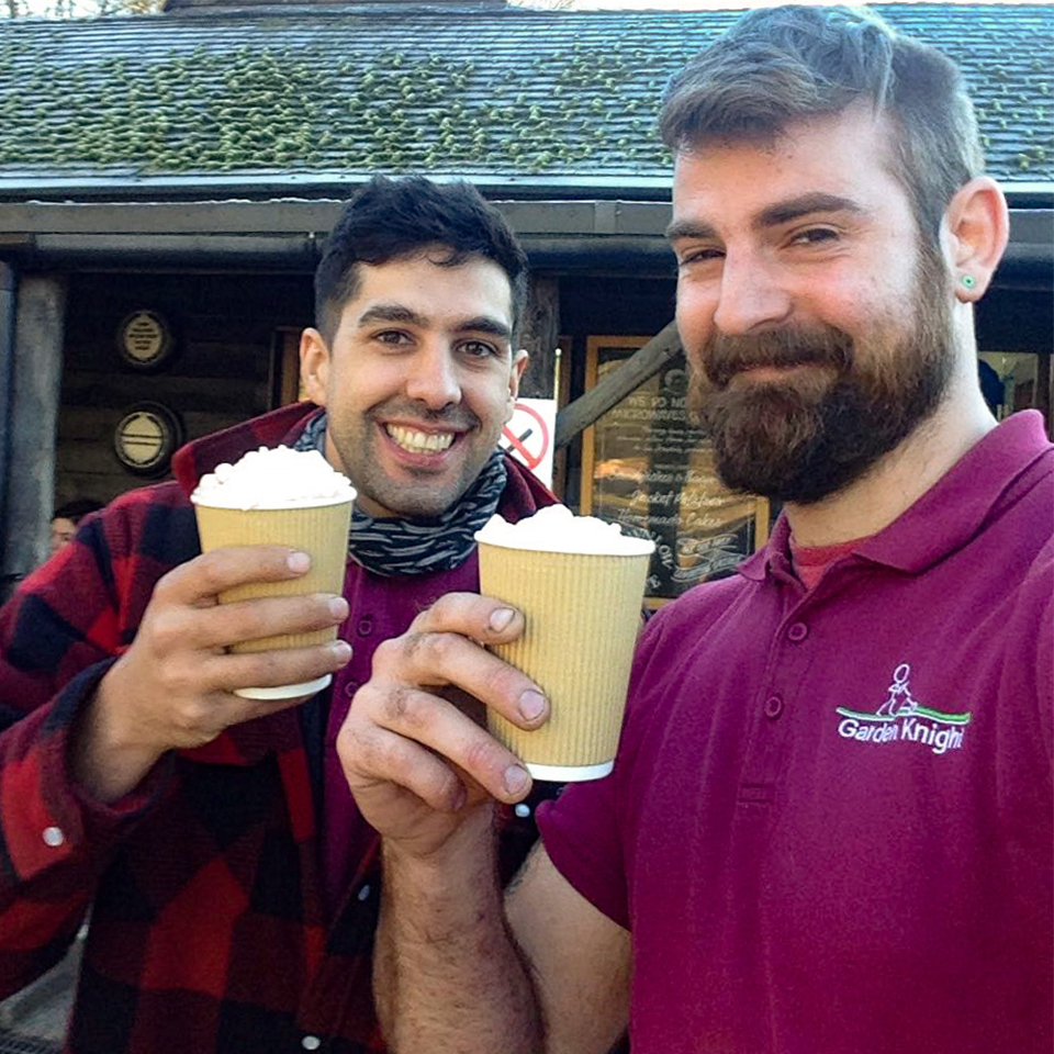 Garden Knight team, Andrew and Nick have a break at their favourite hot chocolate stop!