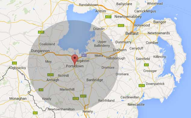 Portadown Topsoil Armagh delivery map