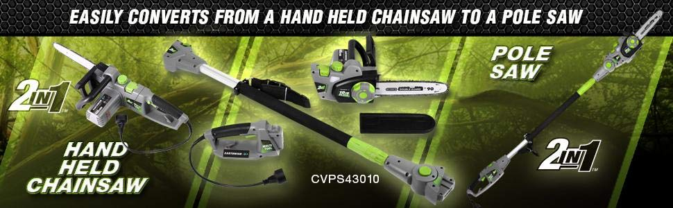 Earthwise CVPS43010 2-in-1 Corded Convertible Chainsaw - PoleSaw