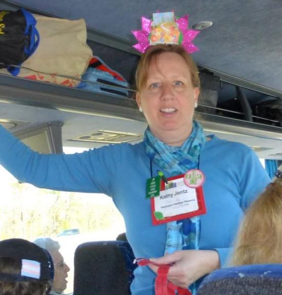 Kathy Jentz on the bus, by tour-goer Eva Graham.