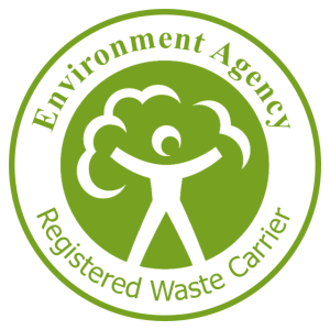 A badge of the Environment Agency Registered Waste Carrier