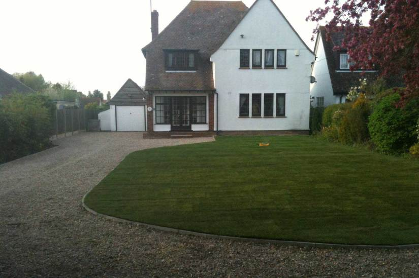 A picture of newly installed artificial grass