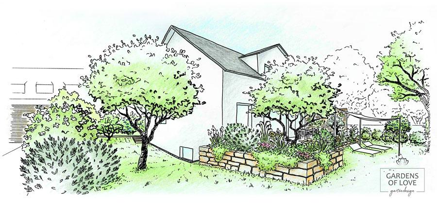Nachher: Der Garten bietet mit erhöhter Terrasse und Natursteinmauer, viel Grün und abwechslungsreicher Bepflanzung, eine Wohn-Oase inmitten der engen Stadt-Grundstücke. Ein geschützter Garten zum Erholen, der dank geschickter Anordnung trotzdem den privaten Freiraum ermöglicht.