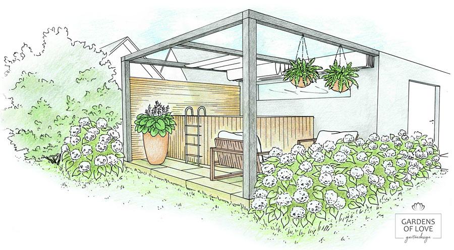 Nachher: Die moderne Pergola mit Faltsonnensegel überdacht den privaten Pool und Garten-Lounge. Durch die üppige Bepflanzung mit Hortensien, schmuckvollen Pflanzkübeln und einer Sichtschutzwand aus Holz entsteht der perfekten Ort für entspannte Stunden im Freien. Viel Privatsphäre und ein gemütlicher Aufenthaltsbereich lasse den Garten zum Zuhause werden.