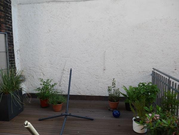 Vorher: Die schattige Hauswand konnte durch die kleinen Topfpflanzen nicht kaschiert werden.