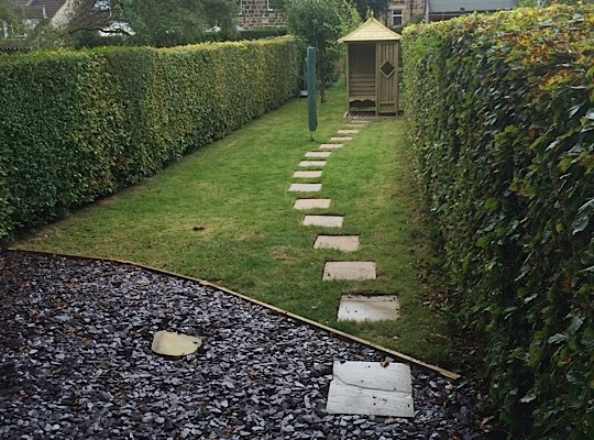 Paving and new lawn in Baildon