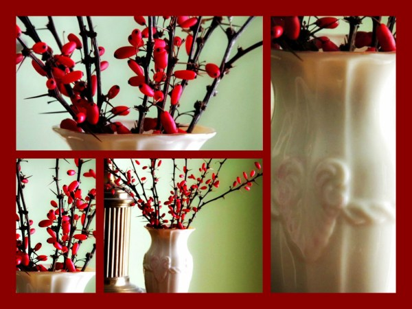 berry vase collage