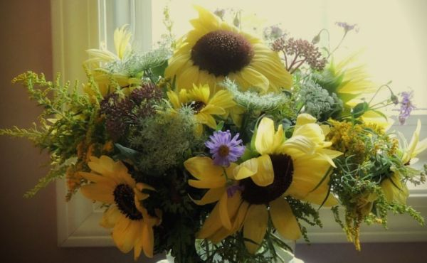 yellow sunflower vase