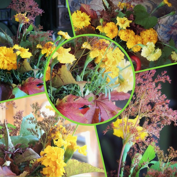 marigold vase collage