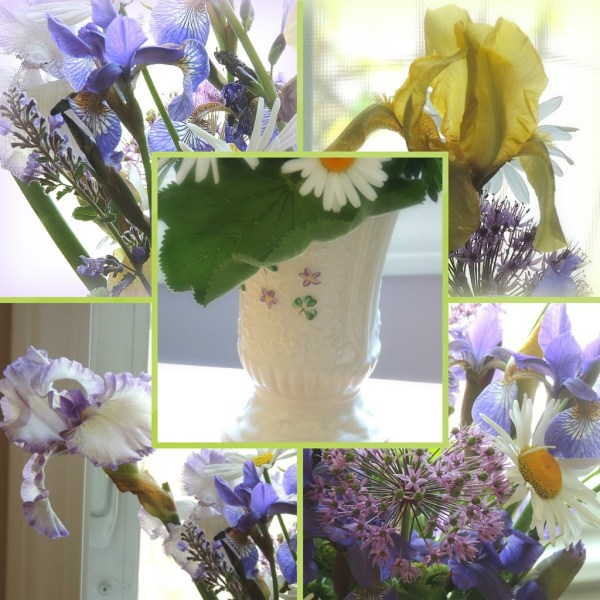 iris vase collage