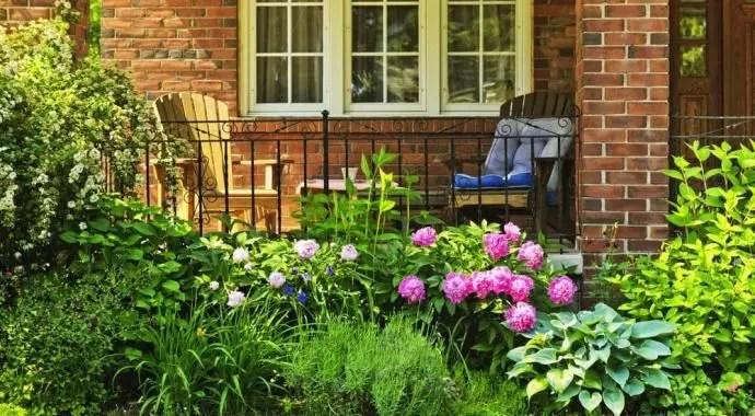 Beautiful Landscaping Around a Veranda