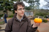 Contemplating life whilst holding a mini-pumpkin