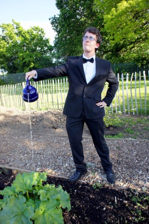 Head gardener tends to his rhubarb