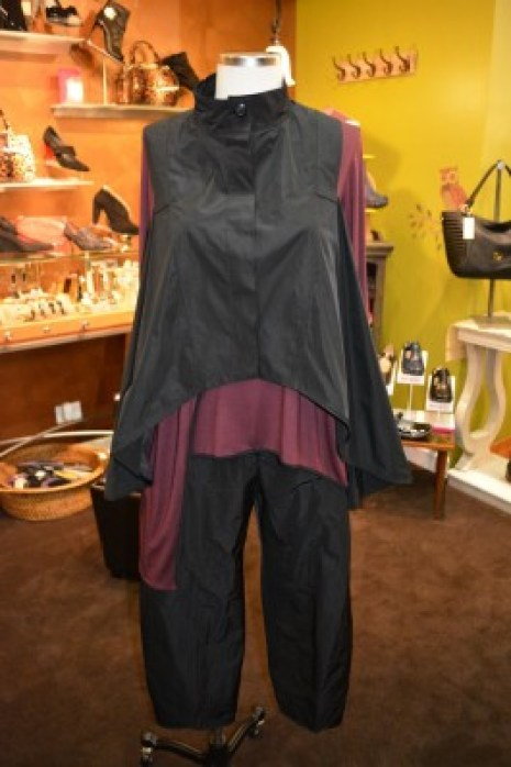 Funky Sun Kim vest and pant with wine colored tunic by Comfy.