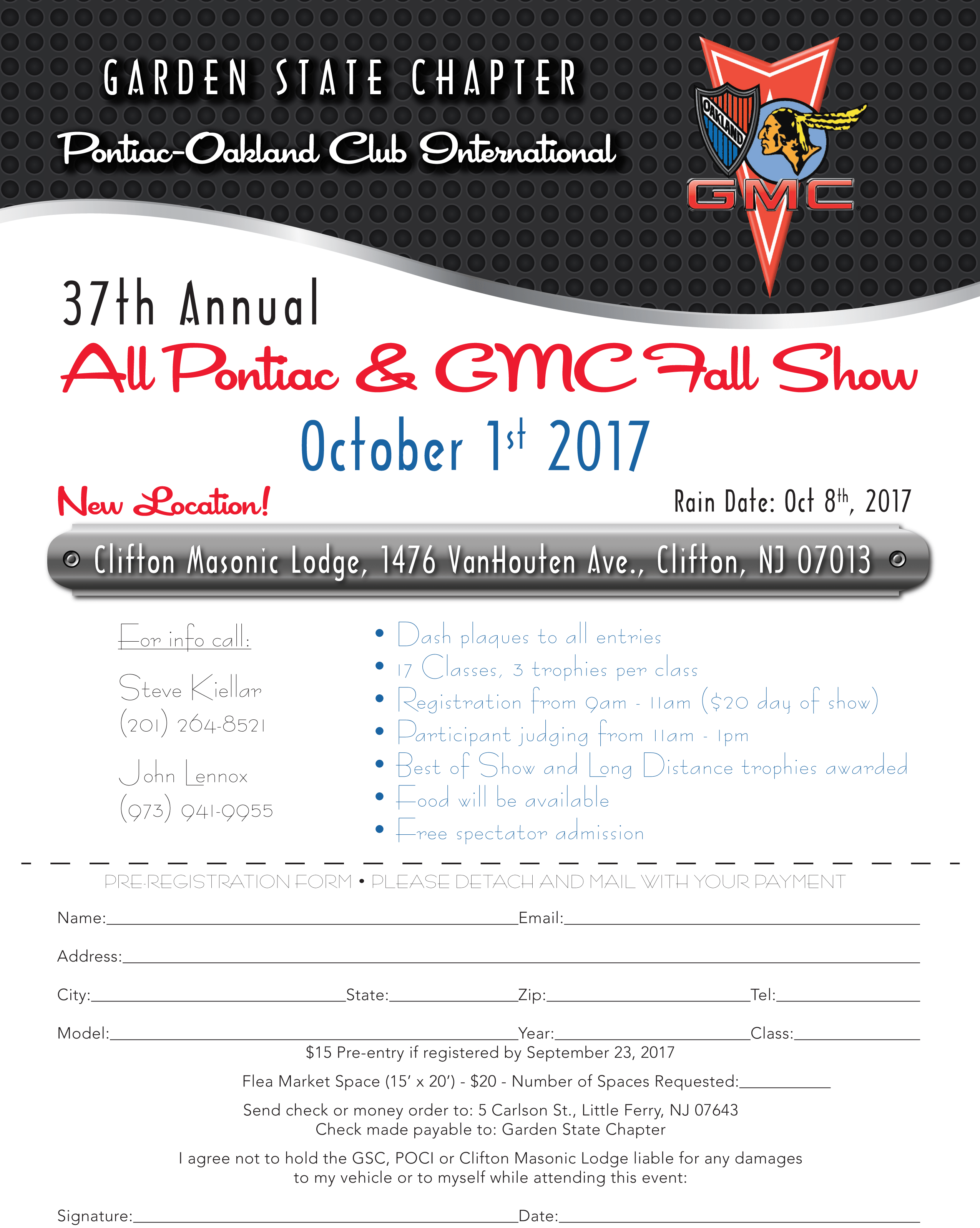 Annual Car Show – October 1, 2017 at Clifton Masonic Lodge