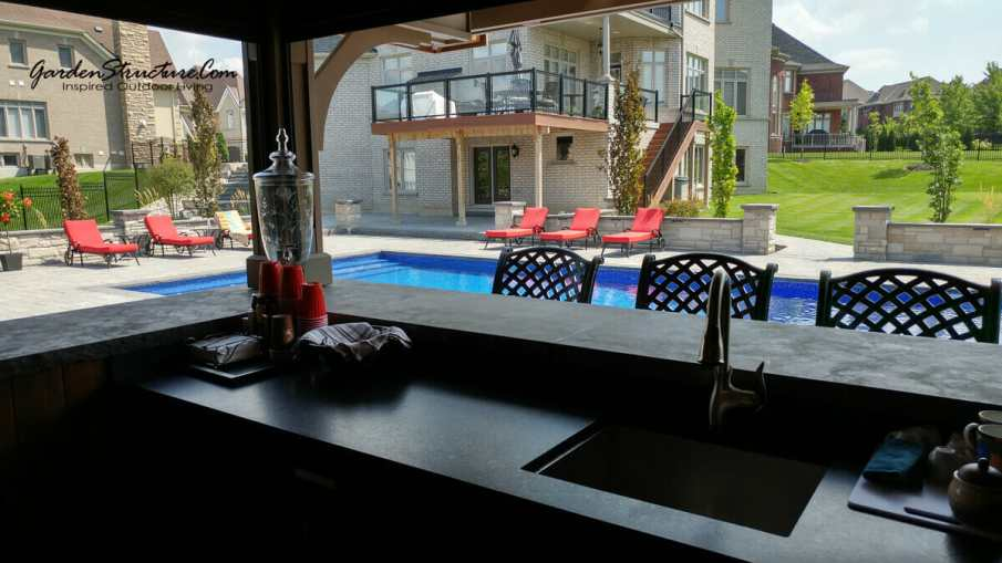 cabana design, view from within the bar area