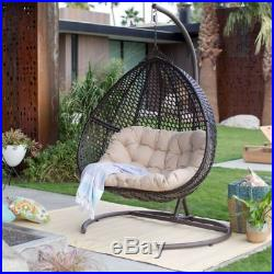 2 seat resin wicker hanging teardrop egg swing stand set outdoor patio furniture garden swings