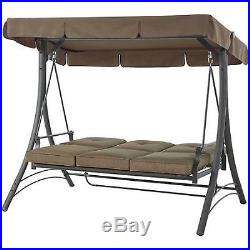 patio swing with canopy deck porch outdoor set 3 person padded seats furniture garden swings