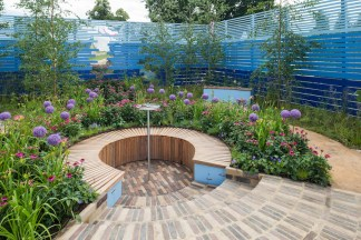 Cancer Research UK's Life Garden. Designed by: Antonia Young. Sponsored by: Cancer Research UK. RHS Hampton Court Palace Flower Show 2016.