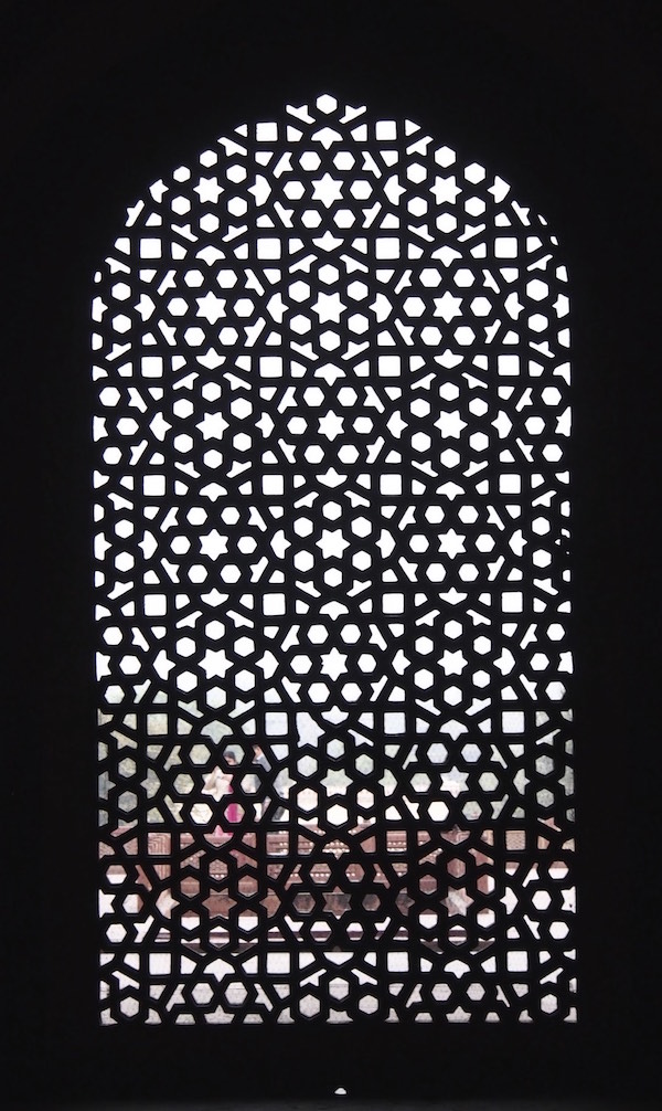 Intricately carved stone screen in India