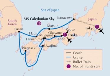 Botanica Japan and South Korea cruise map