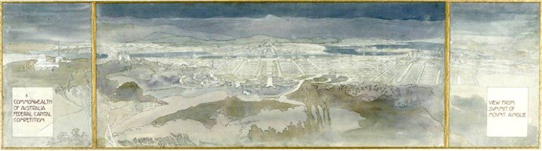 Design of Canberra drawn by Marion Mahony Griffin. Ainslie View, from National Archives of Australia