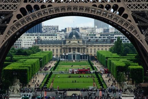 View along the Champs du Mars, through the Eiffel Tower, Paris, France