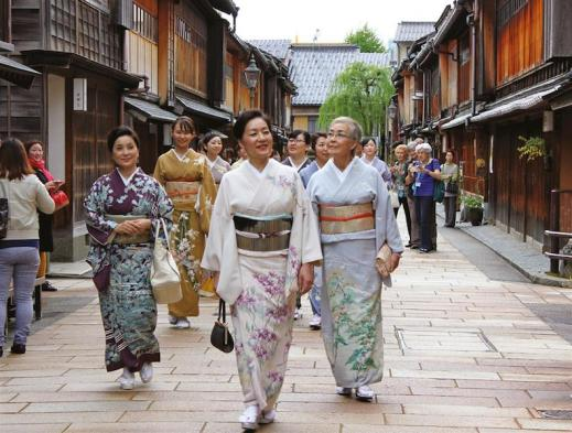 Japanese women in elegant traditional kimono