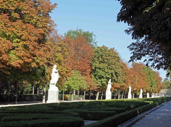 Madrid's Retiro Park autumn leaves and rich greens