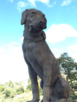 STATUE OF A DOG ON TOP LAWN