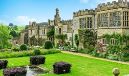 Haddon Hall, Derbyshire, England. Image by Richard Heathcote. Arguably the finest example of a fortified medieval manor house in existence, and dating mostly from the 14th and 15th centuries.