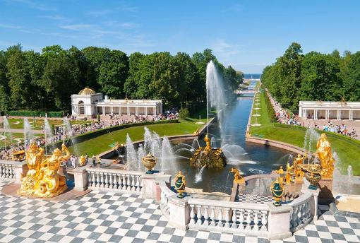 Grand Cascade Fountain and Palace of Peterhof, St Petersburg